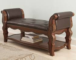 image of leather bedroom bench seat design