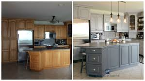 before and after painted oak kitchen cabinets in gray kylie m e design