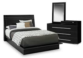 bedroom furniture dimora 5 piece queen panel bedroom set with media dresser black
