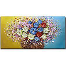 asdam art flower oil painting on canvas