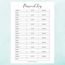 Free Printable Password Log Book Excel Template Sheet Pdf