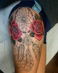 Dream Catcher Tatt Stunningly Dreamcatcher Tattoo On Thigh 88