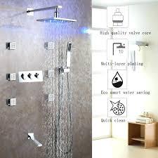 rain shower brushed nickel rainfall shower head system bath faucet set easy installation led rain hot
