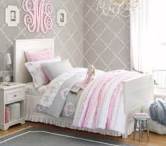 ... Bedroom Source This is such a nice calm girls room with the gray  wallpaper Would