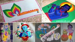 Easy Cartoon Rangoli Designs Krishna Janmashtami Rangoli Designs With Colours And Dots