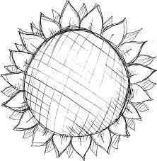 ポップでかわいい花のイラストフリー素材no1116白黒ひまわり