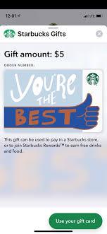 a starbucks gift card through messages