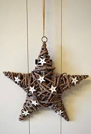 Kranz Rattan Stern Shabby Chic Grau Weiß Trockengesteck Türkranz Türdeko Türhänger Fensterdeko Weihnachtsdeko Xmas Weihnachten Deko 30cm