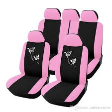 pink erfly embroidery design girly front rear car seat covers set protector car styling interior accessories for universal car auto car seat cover auto
