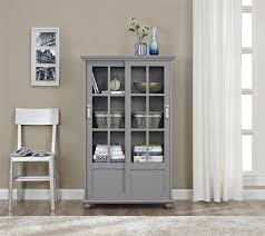 Amazon.com: Ameriwood Home Aaron Lane Bookcase with Sliding Glass Doors,  Soft Gray: Kitchen & Dining