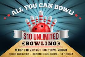 monday and tuesday night unlimited bowling specials