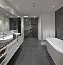 Bathroom Floor To Roof Charcoal Tiles With A Black Counter And Grey Best Black Bathroom Tile Ideas