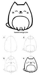 cat drawing step by step. Unique Cat How To Draw Kawaii Cat In 4 Easy Steps Kawaii Drawing Tutorial Step By  Step Intended Cat Drawing Step By R