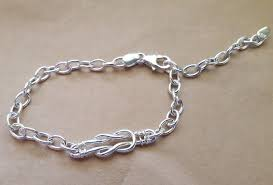 bracelet love knot sterling silver or 9ct gold