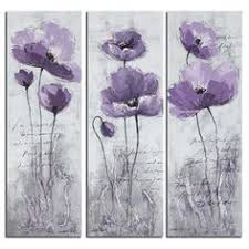 safavieh poppy 3 piece painting print on canvas set on plum flower canvas wall art with the plum colored flower of this wall art will add a nice touch of