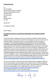 Letter To The Law Society Of Northern Ireland Dated April 8th 2017