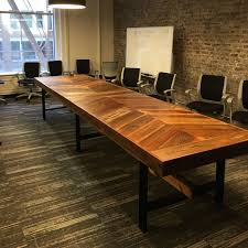 reclaimed wood chevron conference table by b dronkers