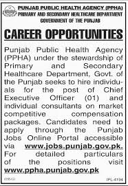 Punjab Public Health Agency Chief Executive Officer Jobs 2018 - Jobs ...