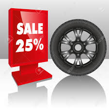 Automobile For Sale Sign Automobile Tire With A Sale Sign Vector Illustration