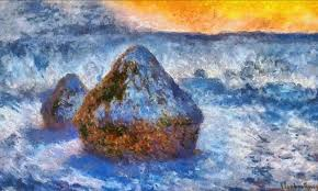 grainstacks at sunset snow effect original by monet painting style claude monet 100 000 digital brushstrokes