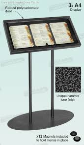 Menu Display Stands Restaurant Amazing Restaurant Menu Stand Holds 32 X A32 Posters In Portrait