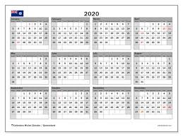 Printable Calendars 2020 With Holidays 2020 Calendar Queensland Australia Michel Zbinden En