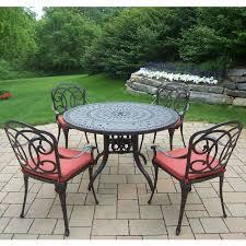 oakland living berkley 5 piece set with 46 round table and 4 cushioned chairs