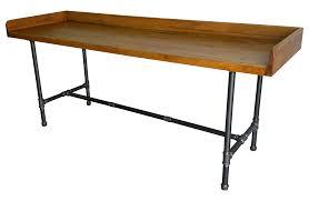 Industrial Pipe Coffee Table Vintage Industrial Wood Steel Pipe Desk Table Chairish