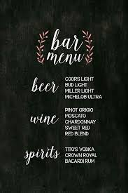 Wedding Bar Menu Template Awesome Wedding Bar Menu Sign Printable ...