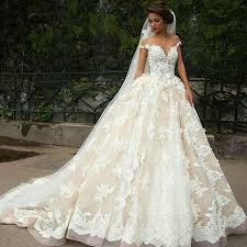beautiful princess spaghetti straps bride wedding dress line with appliques gown