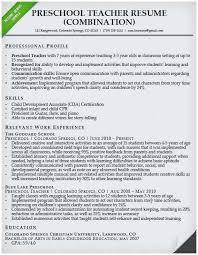 Teacher Resume Objectives Resume Objective Sample For Teachers Perfect Preschool Teacher