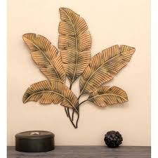 metal leaves wall decor metal palm leaves wall sculpture for latest leaf decor view stratton home