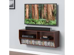 fitueyes 40 wall mount media console center tv stand floating shelves with storage shelf