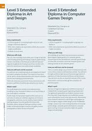 Btec Level 3 Extended Diploma In Art And Design Wakefield College School Leaver Prospectus 2014 15 By