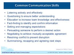 manage project communication introduction to communication diploma  common communication skills
