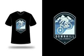 Premium Vector | T-shirt <b>downhill</b> california <b>color</b> blue and light blue