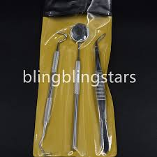 <b>3 Pcs Dental</b> Examination Kit Basic Hygiene Tweezer Mirror ...