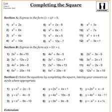 worksheet completing the square worksheets completing the square cazoom maths worksheets