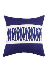 image of peking handicraft fish ribbon pillow 20 x 20 navy