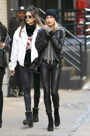 hailey baldwin wears saint lau leather pants
