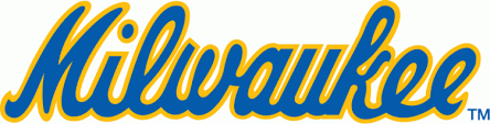 milwaukee brewers logo. milwaukee brewers jersey logo - (road) scripted in blue with yellow outline