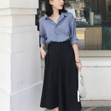 Pants Shirt Formal Office Wear Shirt With Long Pants Blue