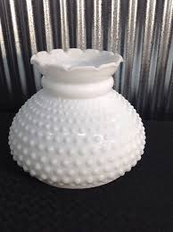 vintage white milk glass hobnail hurricane lamp shade globe ruffled top 7 fit 1 of 9 see more