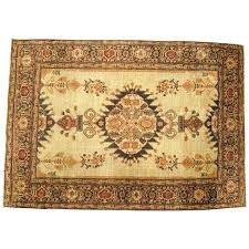 antique persian tabriz decorative oriental rug in small size with ivory field