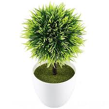 office pot plants. GTidea 9.5\u0027\u0027 Artificial Fake Potted Plants Plastic Green Topiary Ball Shrubs With White Planter Pot For Home Kitchen Office