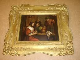 19thc oil painting on copper of dutch tavern scene antique oil paintings