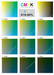 Yellow Cmyk Color Chart Cmyk Color Swatch Chart Cyan And Yellow Stock Vector