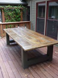 outdoor farmhouse table aged and distressed pine top sealed with marine varnish ragtimewoodwork