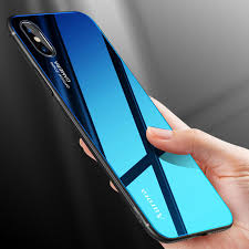 bakeey grant color aurora blue ray tempered glass soft edge protective case for iphone x cod
