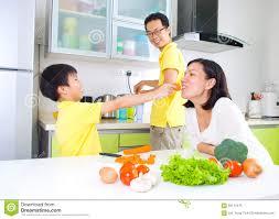 Family Kitchen Asian Family Kitchen Lifestyle Stock Photo Image 56110475